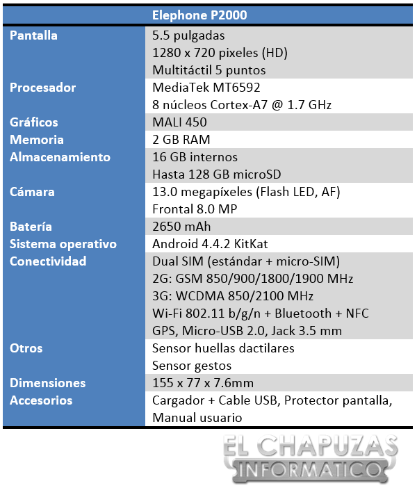 Elephone P2000 Especificaciones 2