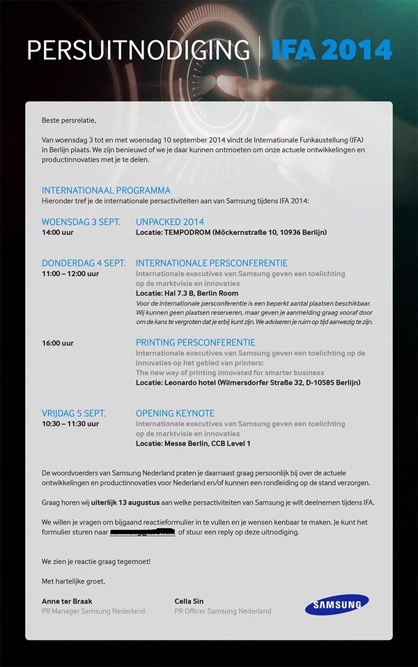 Invitación Samsung UNPACKED en la IFA 2014