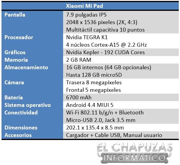 Xiaomi Mi Pad Especificaciones 2