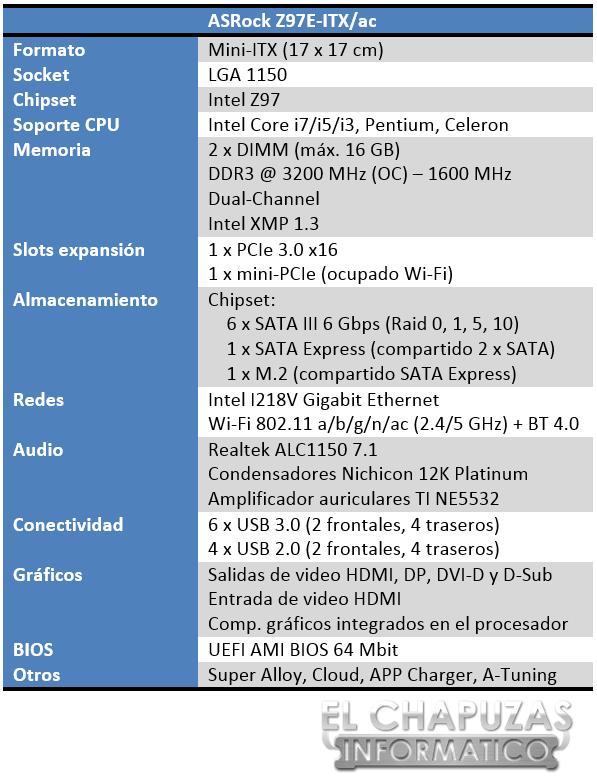 ASRock Z97E-ITX ac Especificaciones