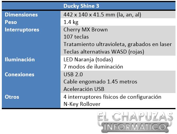 Ducky Shine 3 Especificaciones