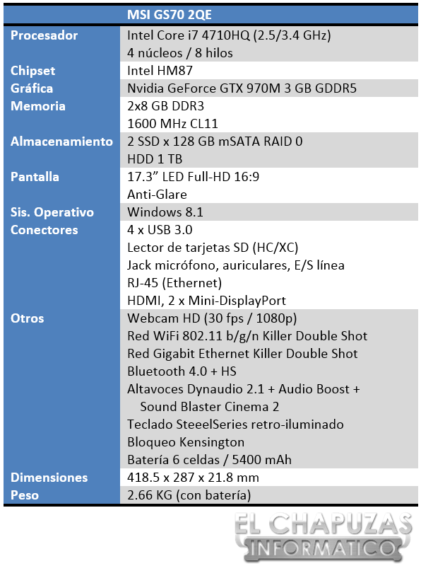 MSI GS70 2QE Especificaciones