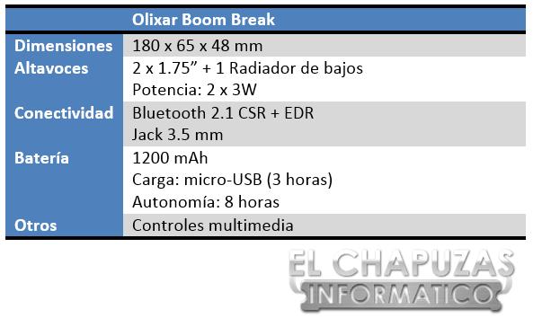 Olixar Boom Break Especificaciones