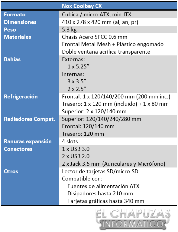 Nox Coolbay CX Especificaciones