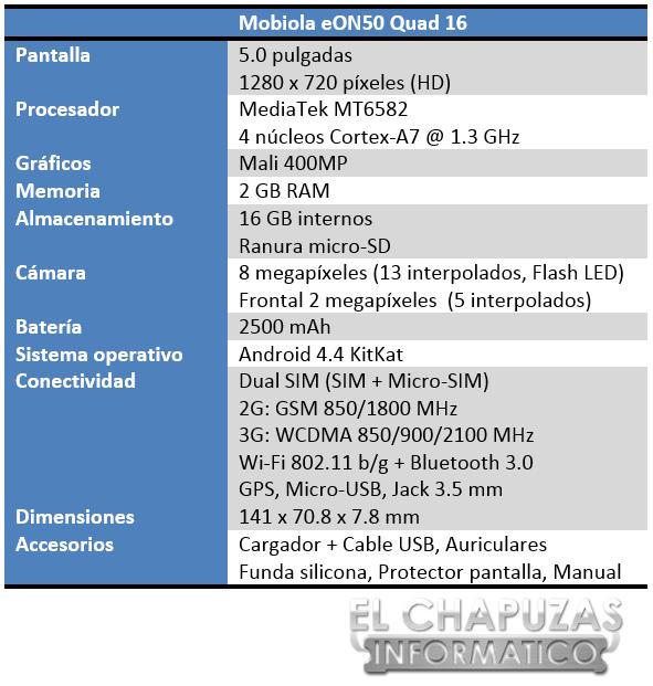 Mobiola eON50 Quad 16 Especificaciones