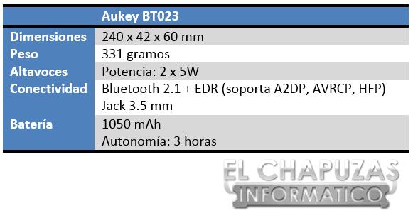 Aukey BT023 Especificaciones