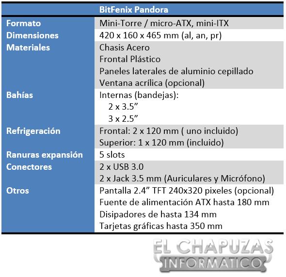 BitFenix Pandora Especificaciones