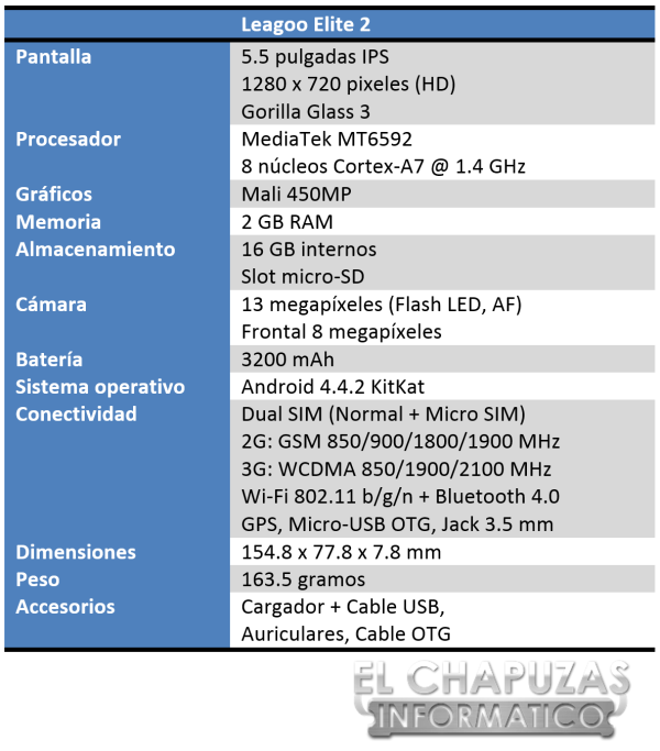 Leagoo Elite 2 Especificaciones