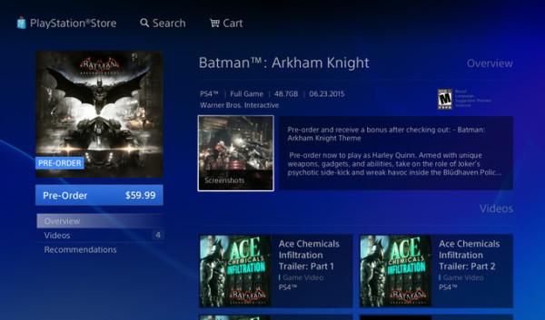 Batman Arkham Knight PlayStation Store