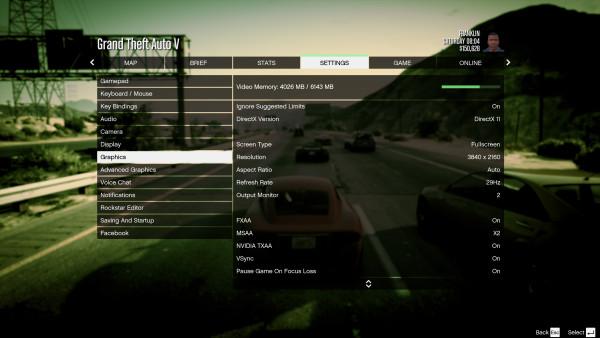 Grand Theft Auto V - Menú configuración (1)
