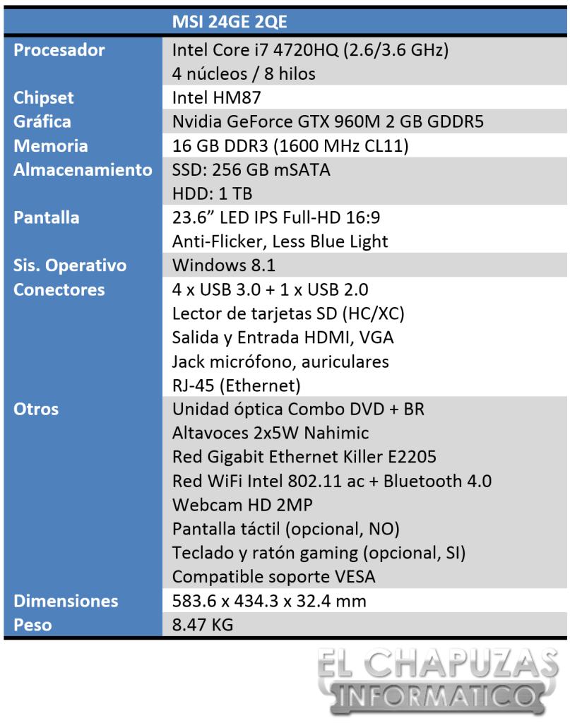 MSI 24GE 2QE Especificaciones