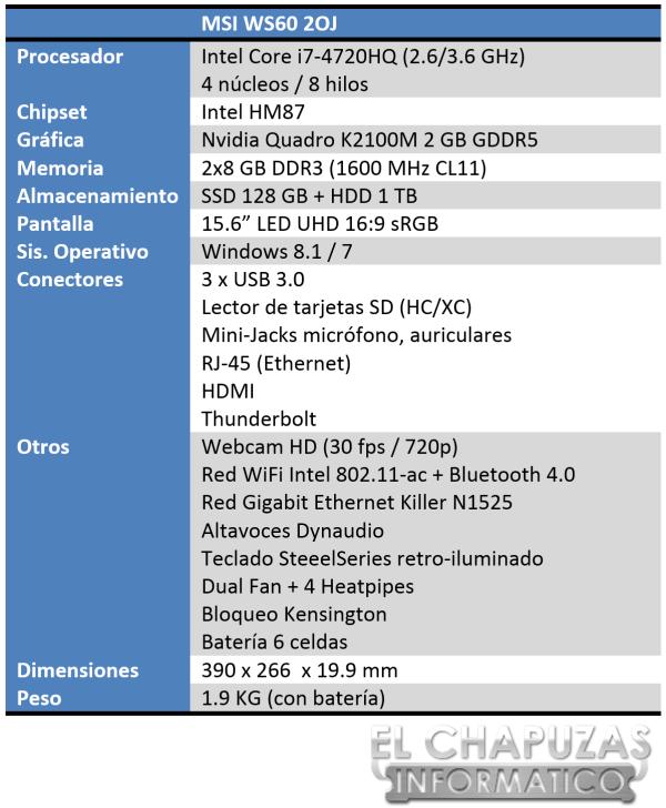 MSI WS60 2OJ Especificaciones