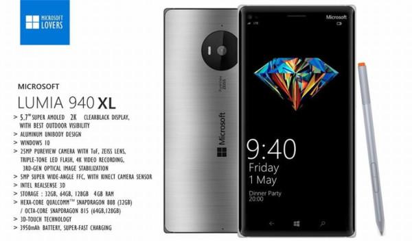 Microsoft Lumia 940 XL Render especificaciones
