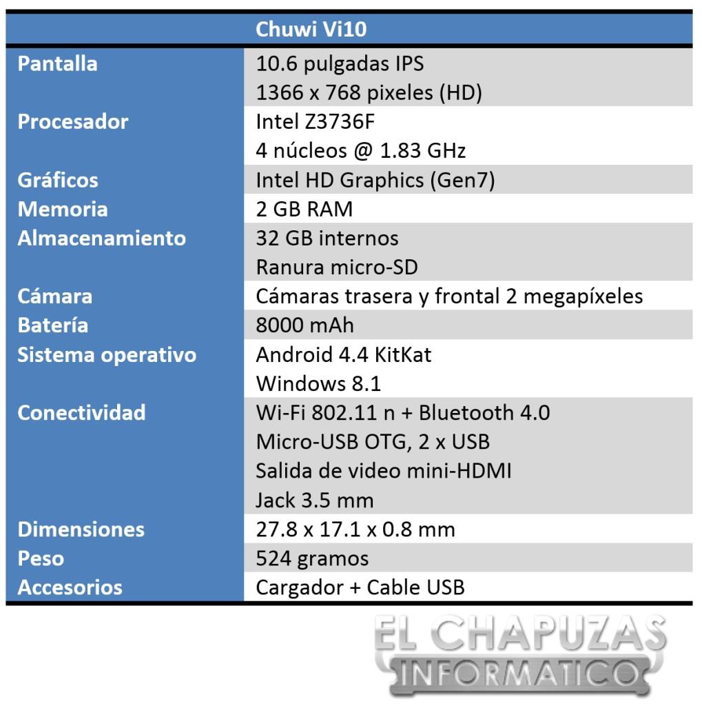 Chuwi Vi10 Especificaciones