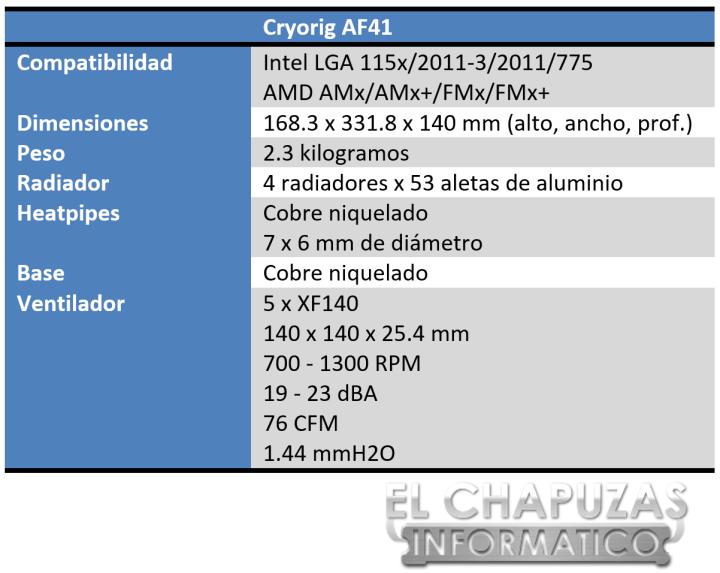 Cryorig AF41 Especificaciones