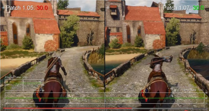 The Witcher 3 Xbox One 1.05 vs 1.07