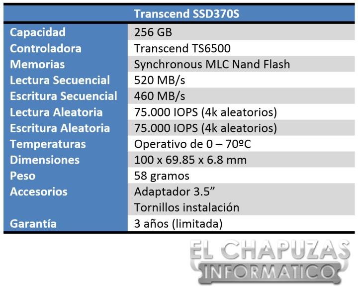Transcend SSD370S Especificaciones