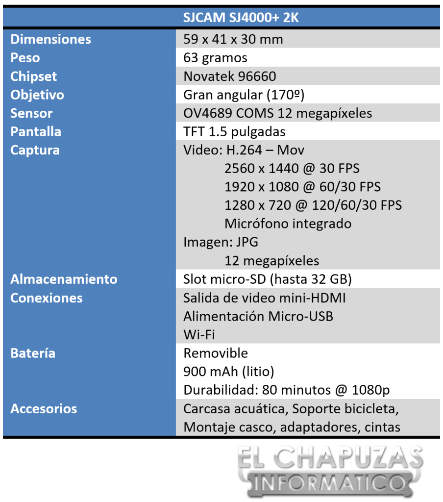 SJCAM SJ4000+ 2K Especificaciones