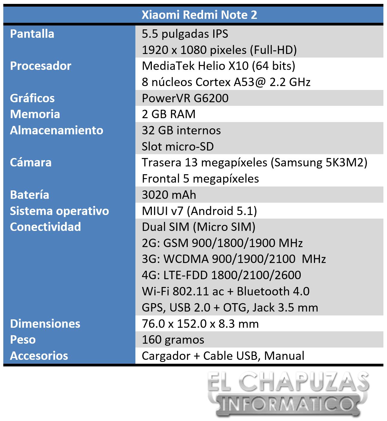 Xiaomi Redmi Note 2 Especificaciones