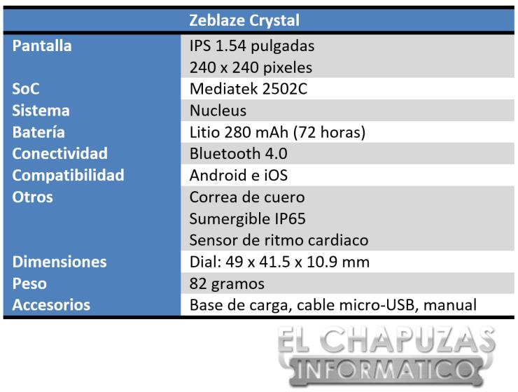 Zeblaze Crystal Especificaciones