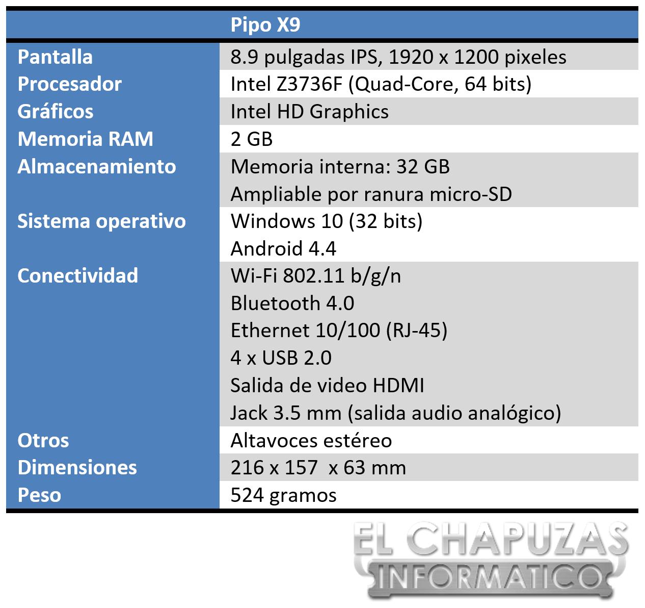 Pipo X9 Especificaciones