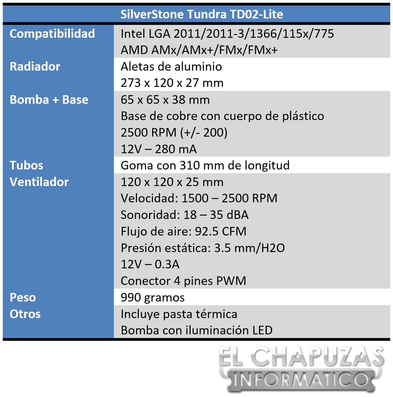 SilverStone Tundra TD02-Lite Especificaciones