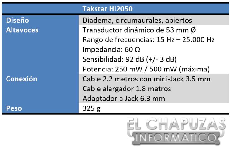 Takstar HI2050 Especificaciones