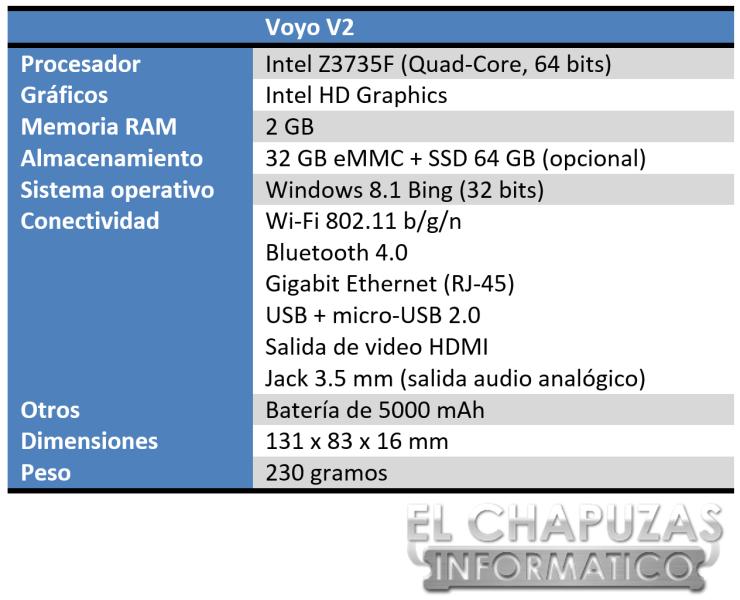 Voyo V2 Especificaciones