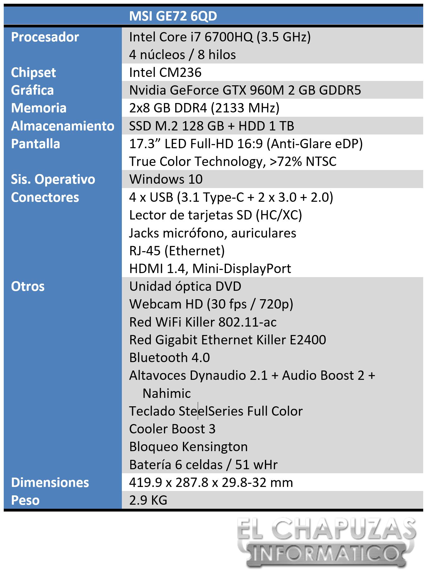 MSI GE72 6QD Especificaciones