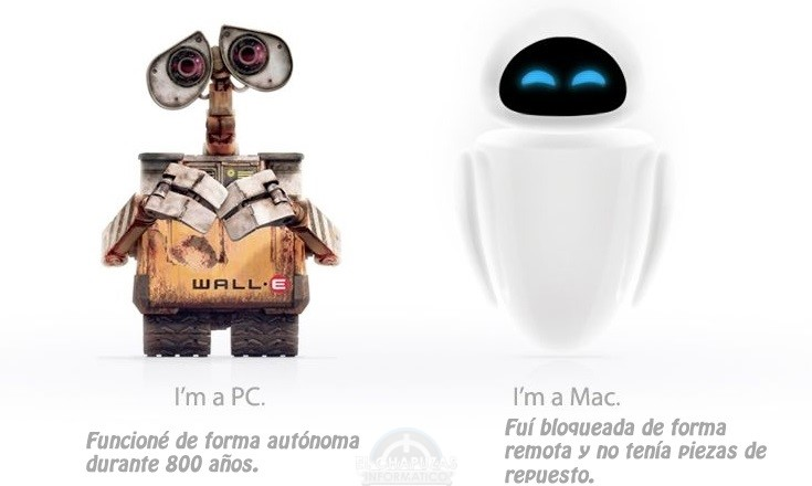 PC vs Mac - Wall-e y EVE