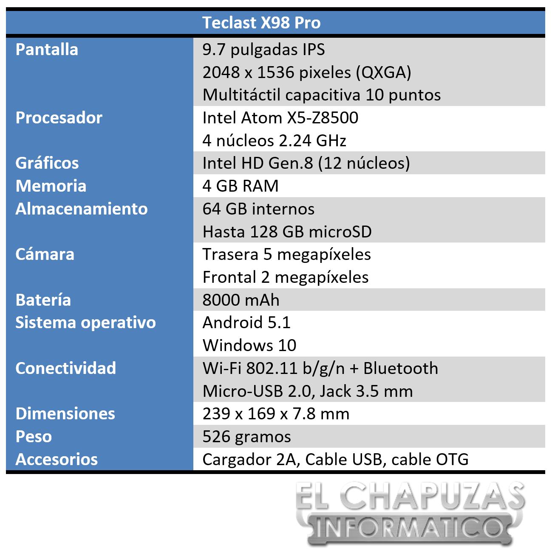 Teclast X98 Pro Especificaciones