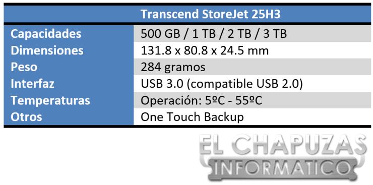 Transcend StoreJet 25H3 Especificaciones
