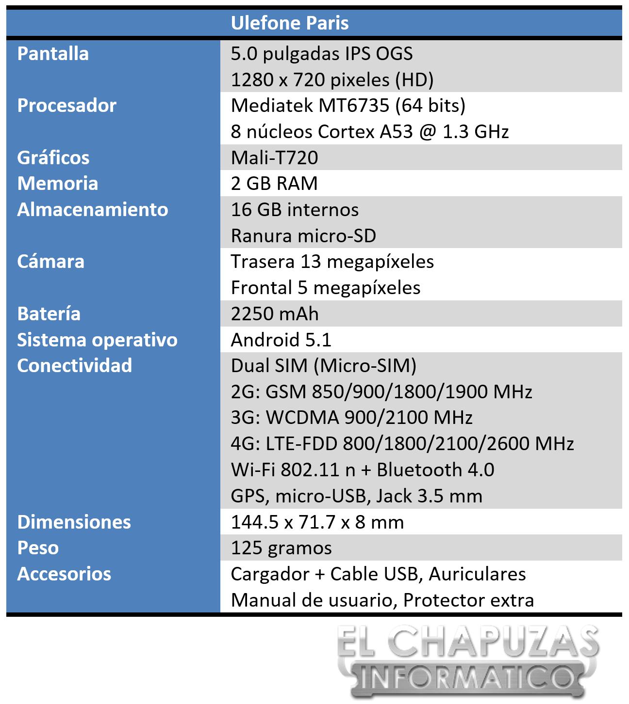 Ulefone Paris Especificaciones