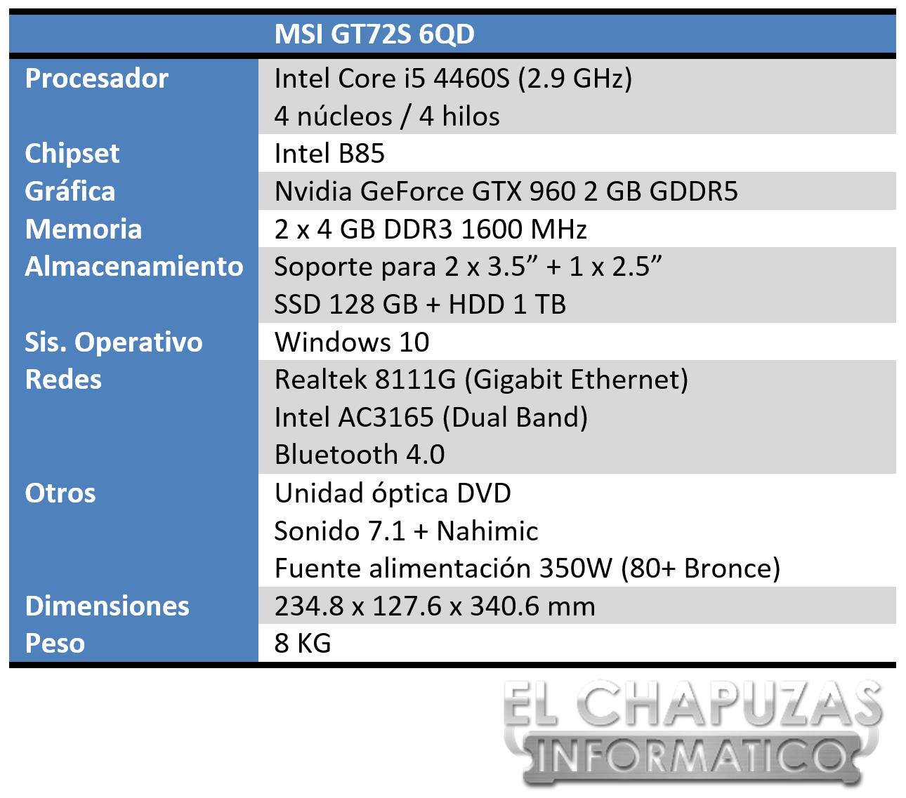 MSI Nightblade MI Especificaciones
