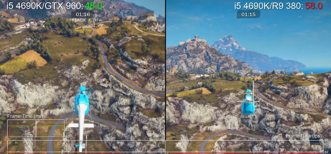 Just Cause 3 en PC: GTX 960 vs R9 380 & Core i5-4690K vs FX-8350