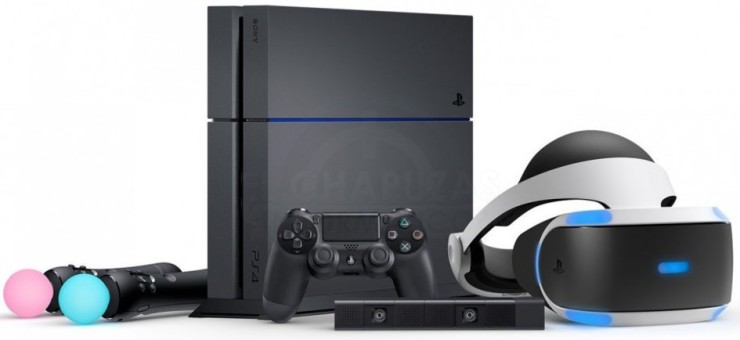 PlayStation 4 junto a las PlayStation VR