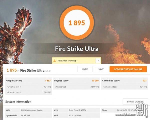 NVIDIA GeForce GTX 1050 Ti 3DMark Firestrike Ultra 3
