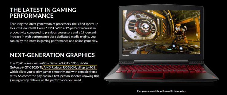AMD Radeon RX 560M Lenovo Y520 740x312 0