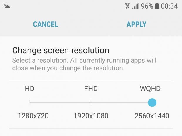 Galaxy S7 resolución Android 7.0 0