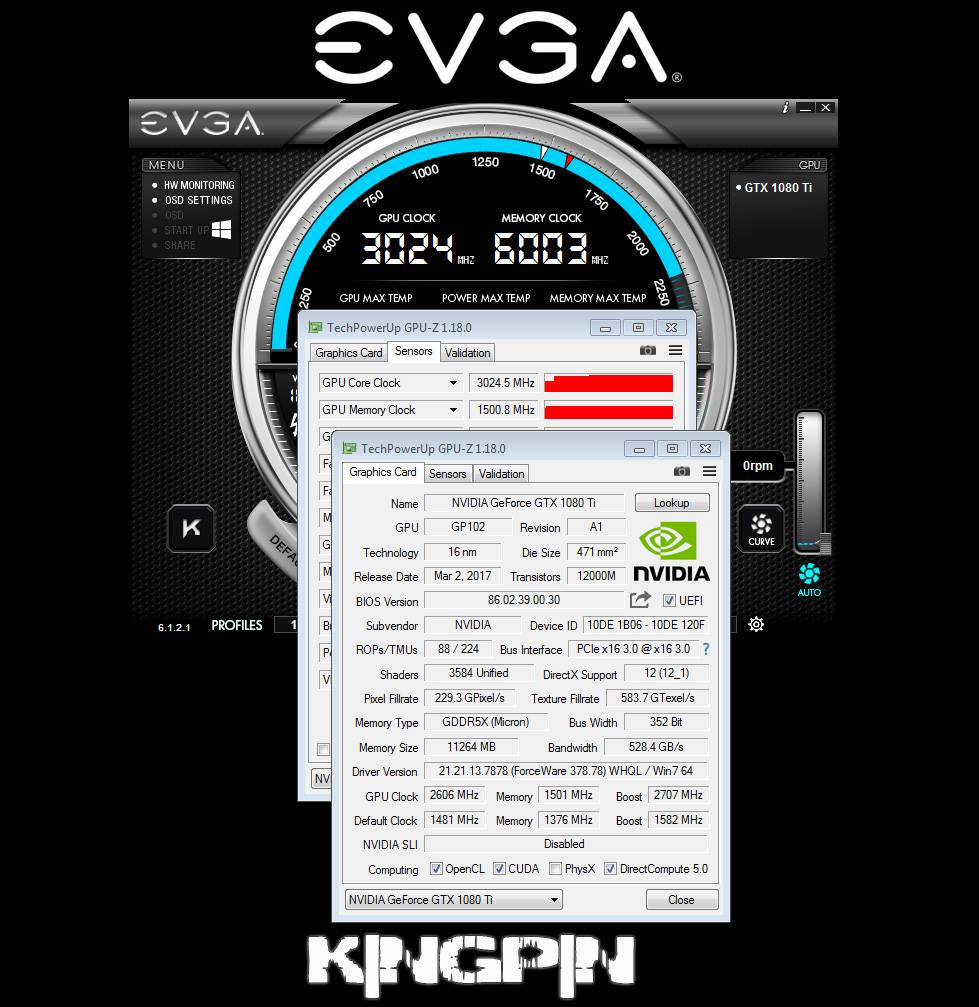 GeForce GTX 1080 Ti Founders Edition overclock kingpin 1