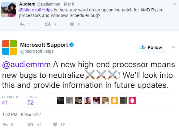 Microsoft habla del bug programador de tareas AMD Ryzen 1