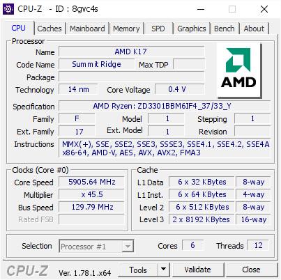 AMD Ryzen 5 1600X overclock 5.90 GHz 0