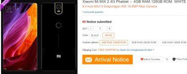 El Xiaomi Mi Mix 2 aparece listado: 6.4″ AMOLED, Snapdragon 835 y 8GB de RAM