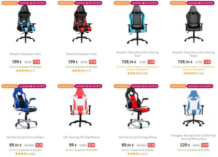 Pccomponentes rebaja las sillas gaming modelos desde 59 for Sillas gaming rebajas