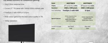 AOC AG273QCX y AG273QCG: Monitores gaming Quad HD @ 144 Hz con 0,5 ms