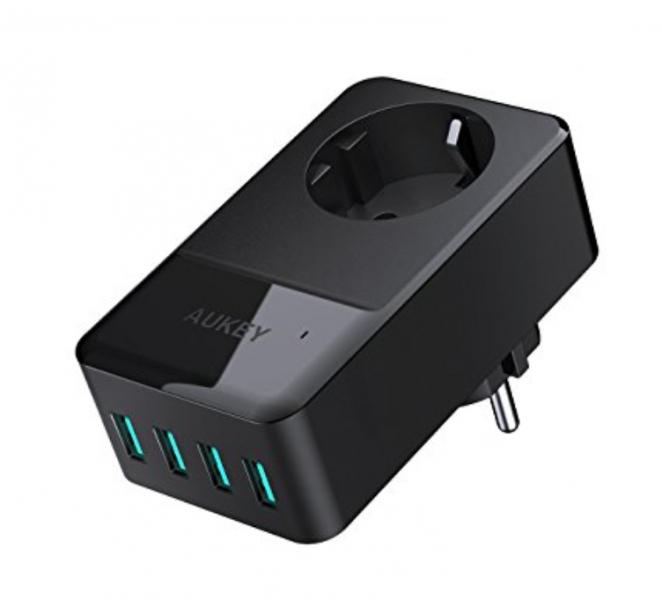 2017 12 20 18 35 27 AUKEY Cargador USB un Enchufe 16A con 4 USB Puertos 5V 24A   4 para iPhone 8  662x600 4
