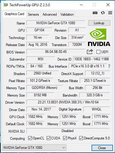 MSI GT73EVR 7RF 870XES Titan Pro GPU Z frecuencia de referencia 32