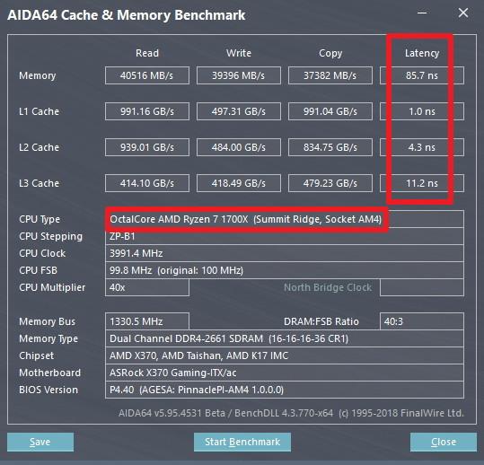 AMD Ryzen 7 2700X cache y memoria benchmark vs Ryzen 7 1700X 1 0