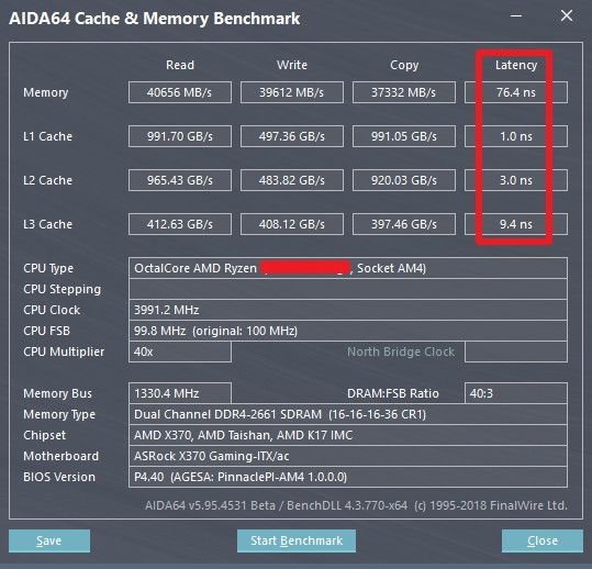 AMD Ryzen 7 2700X cache y memoria benchmark vs Ryzen 7 1700X 1