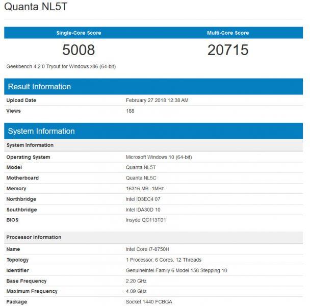 Core i7 8750H Geekbench 608x600 0